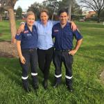 Kim Powell and paramedics